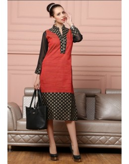 Readymade Red & Black Cotton Kurti - Darpan2060
